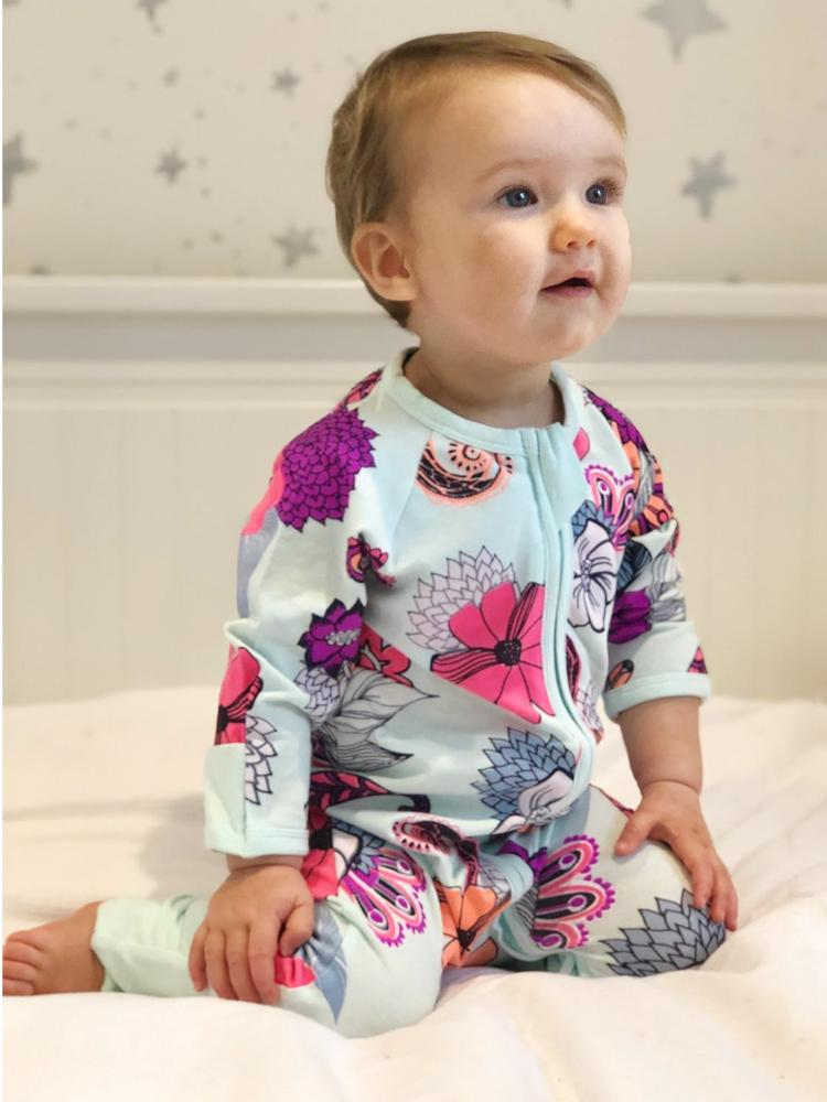 Pale Blue Exotic Flowers Zippy Baby Sleepsuit with Hand & Feet Cuffs - Stylemykid.com