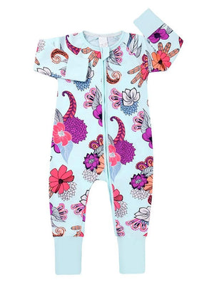 Pale Blue Exotic Flowers Baby Zip Sleepsuit with Hand & Feet Cuffs - Stylemykid.com