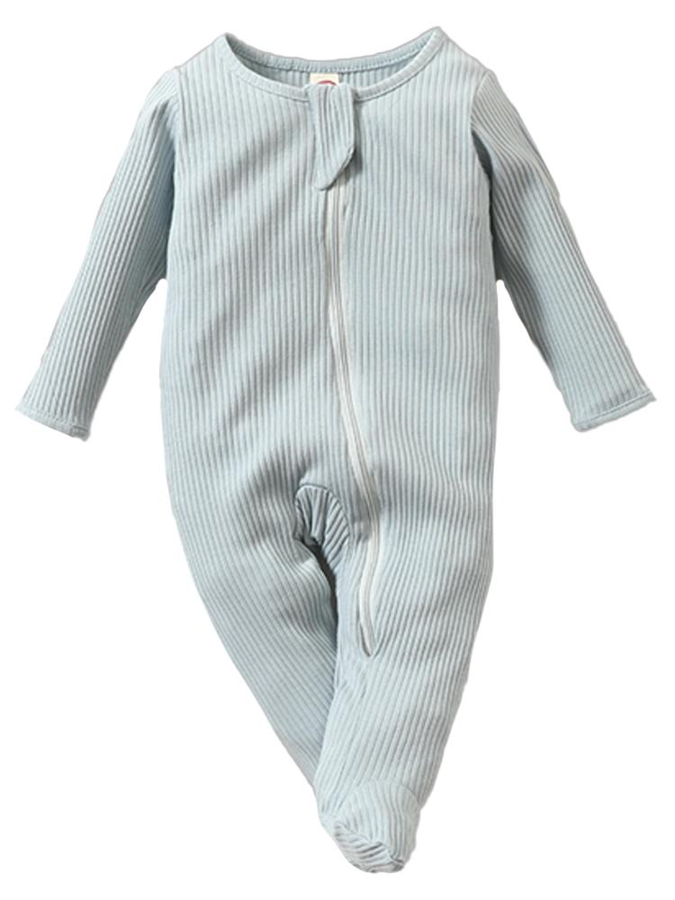 Pale Blue Footed Ribbed Baby Zip Sleepsuit - 0-3 and 3-6 months - Stylemykid.com