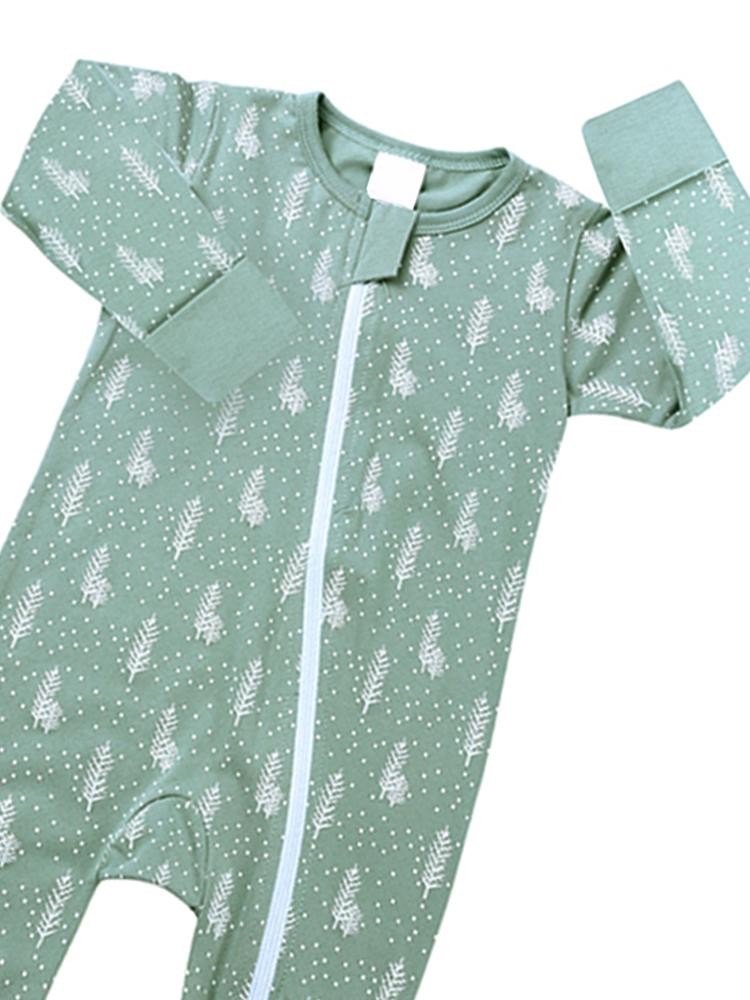 Pale Green Heather Zip Sleepsuit with Feet & Hand Cuffs - Stylemykid.com