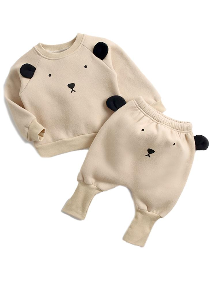 Panda Pop - Long Sleeve Top & Bottoms Cream Outfit with Panda Ears - 2 Piece Sweatshirt Set - Stylemykid.com