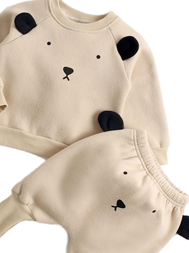 Panda Pop - Baby/Toddler Long Sleeve Top & Bottoms Outfit with Panda Ears - 2 Piece Cream Sweatshirt Set - Stylemykid.com
