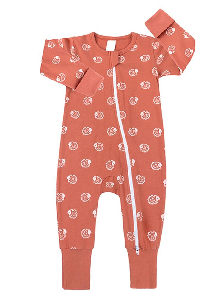 Peach Hedgehog Zippy Baby Sleepsuit with Hand & Feet Cuffs - Stylemykid.com