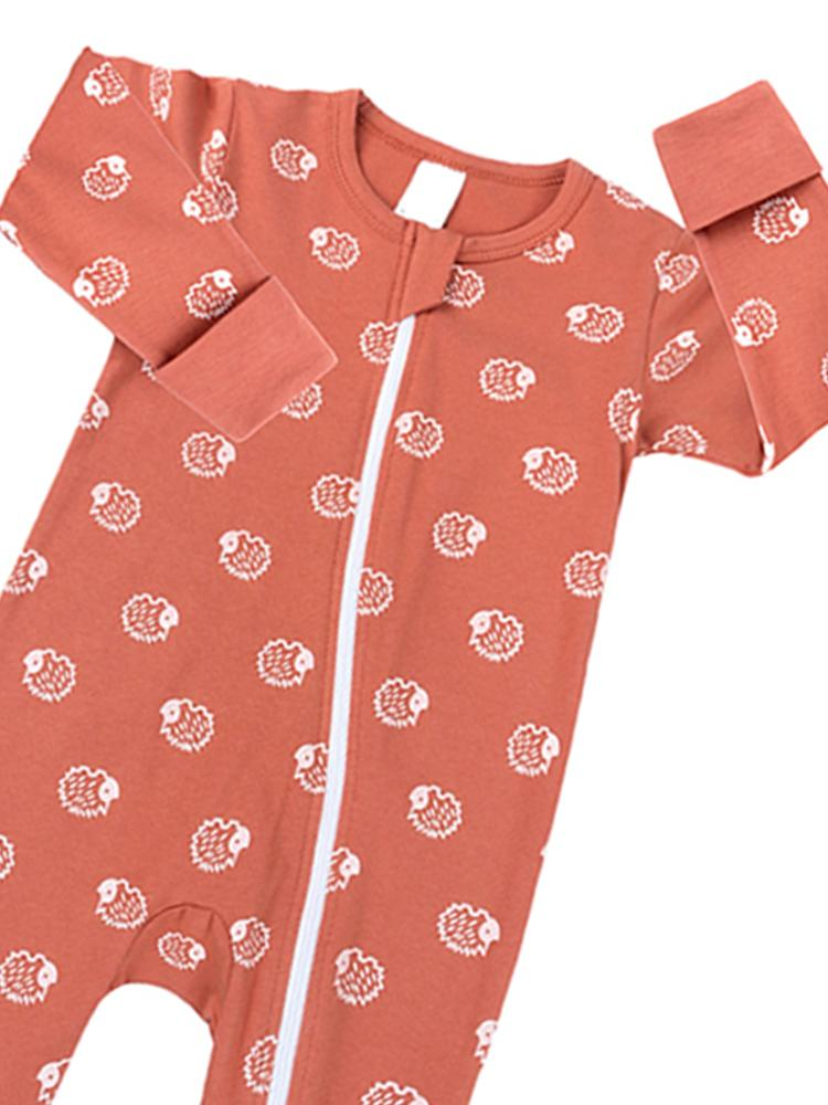 Peach Hedgehog Baby Zip Sleepsuit with Hand & Feet Cuffs - Stylemykid.com