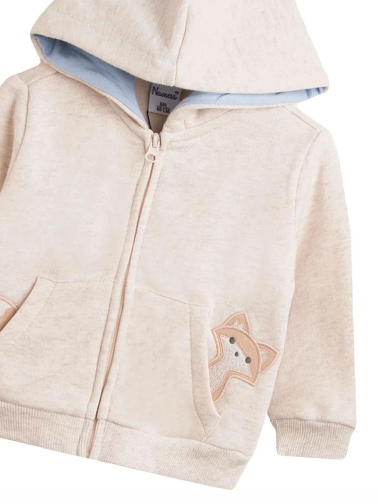 Peeking Fox Zipped Hoody in Cream - Stylemykid.com