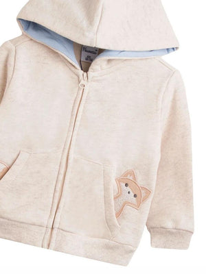 Peeking Fox Zipped Hoody in Cream - Unisex 0 to 24 months - Stylemykid.com