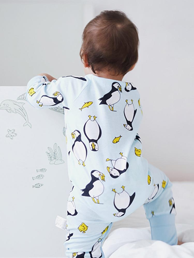 Playful Puffins Baby Zip Sleepsuit with Hand & Feet Cuffs - Stylemykid.com