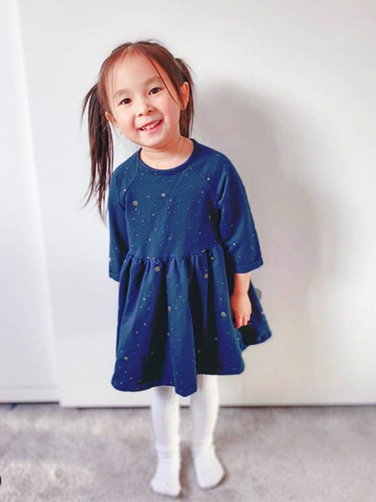Artie - Deep Blue Moon Sparkle Jacquard Girls Dress - Stylemykid.com