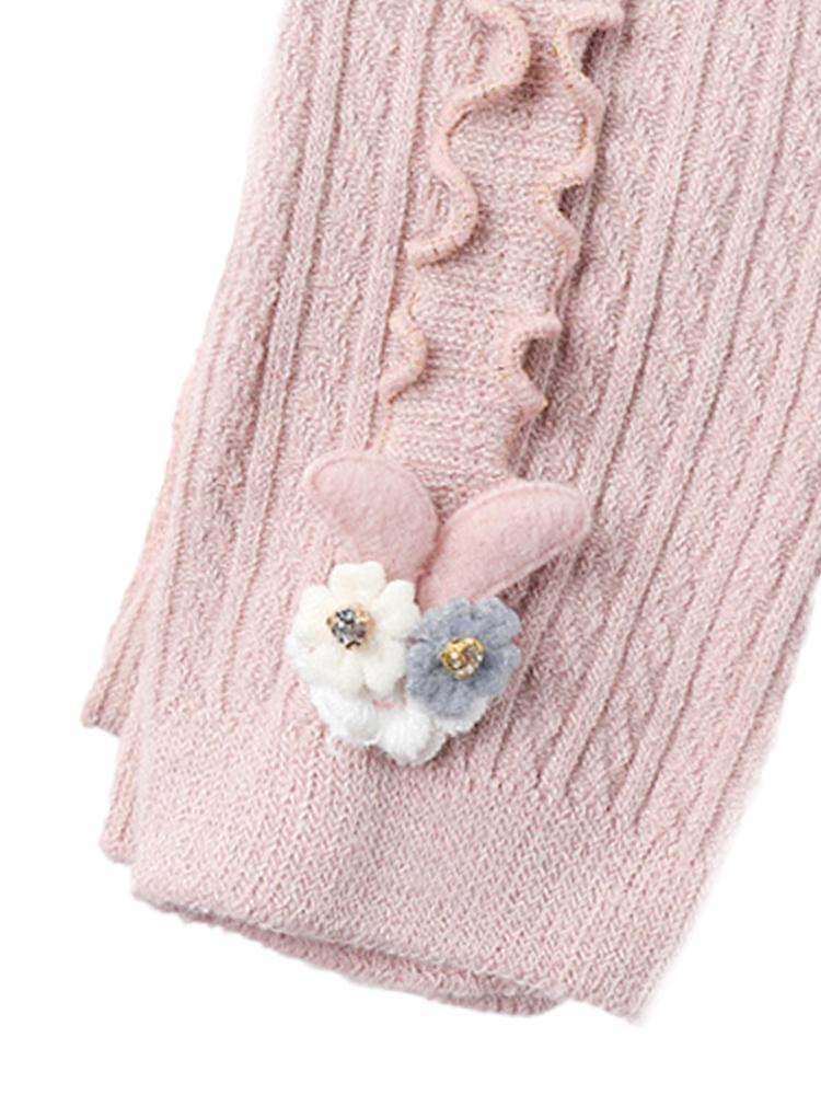 Pale Pink Flower Frills Bunny Footless Girls Tights/ Leggings - Stylemykid.com