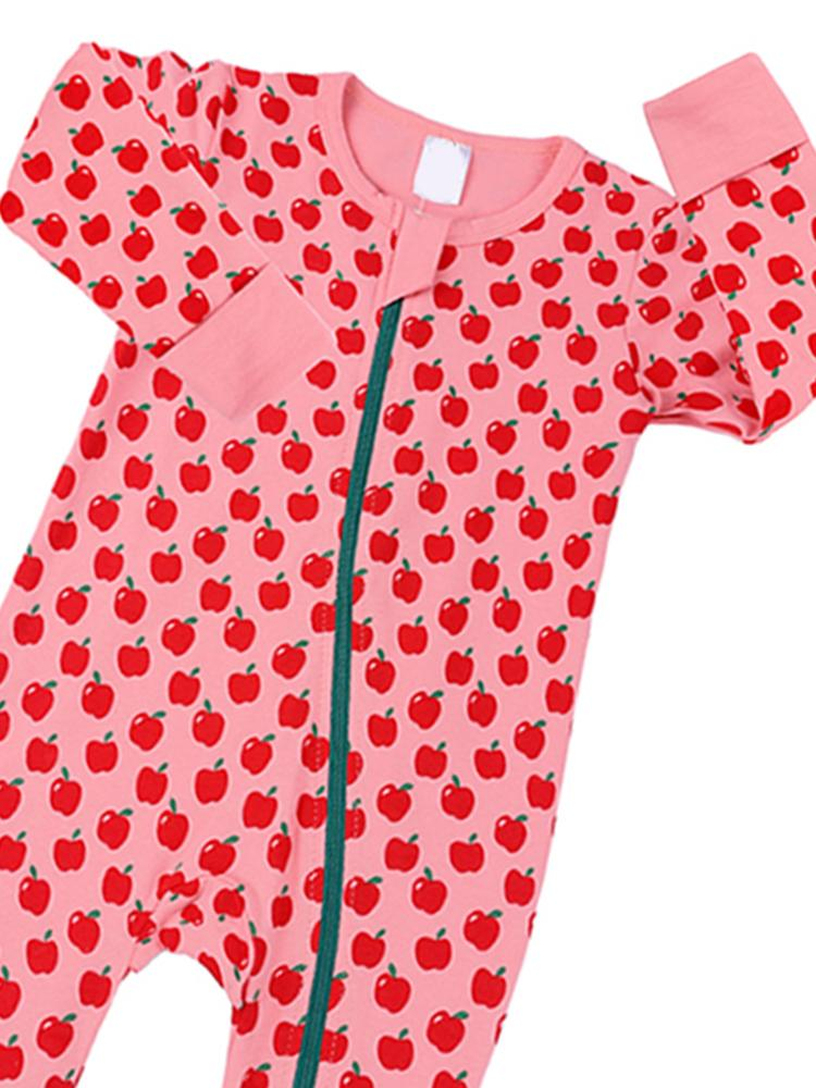 Pink Apples Baby Zip Sleepsuit with Hand & Feet Cuffs - Stylemykid.com