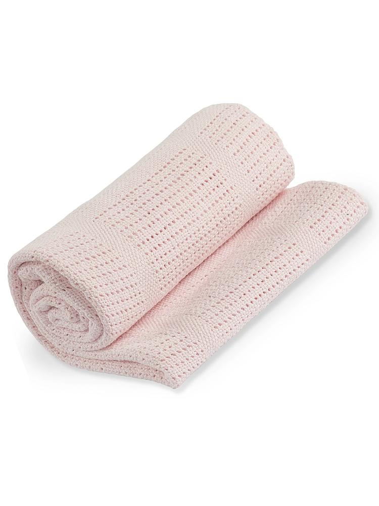 Lulujo - Pink Cellular Baby Blanket - 100% Cotton - Stylemykid.com