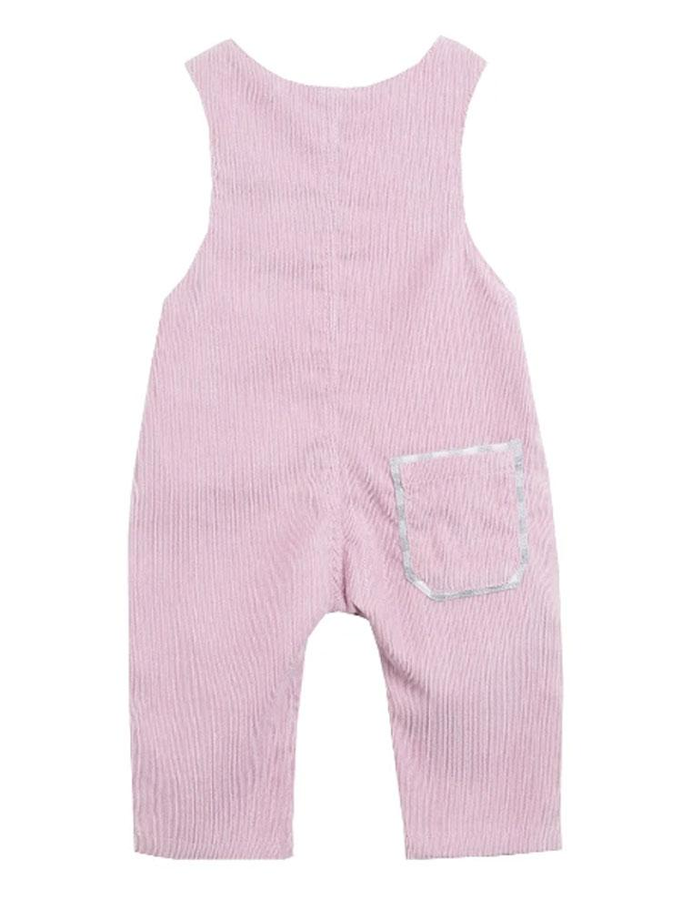 Pink Girls Hiding Bunny Dungarees - Stylemykid.com