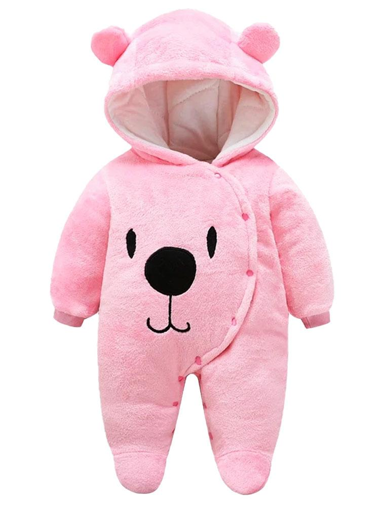 Pink Fleece Onesie with Cute Ears and Bear Face Design - Stylemykid.com