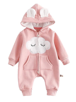 Fluffy Cloud Pink Fleecy Hooded Onesie - Baby Outerwear - Stylemykid.com
