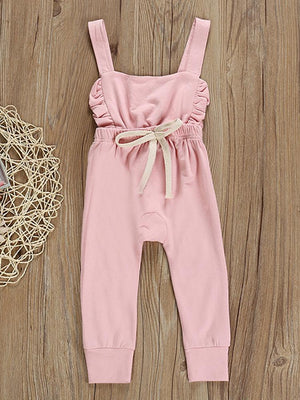 Pink Frill & Shoelace Tie Dungarees Girls Playsuit - Stylemykid.com