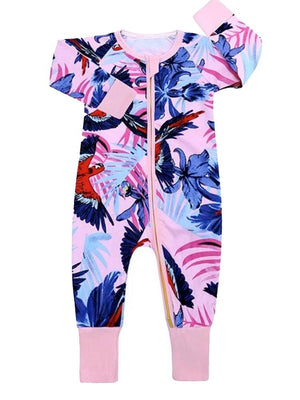 Pink Jungle Zip Sleepsuit with Hand & Feet Cuffs - Stylemykid.com