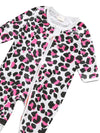 Pink Leopard - Baby Zip Sleepsuit with Turnover Hand & Feet Cuffs - NEW DESIGN - Stylemykid.com