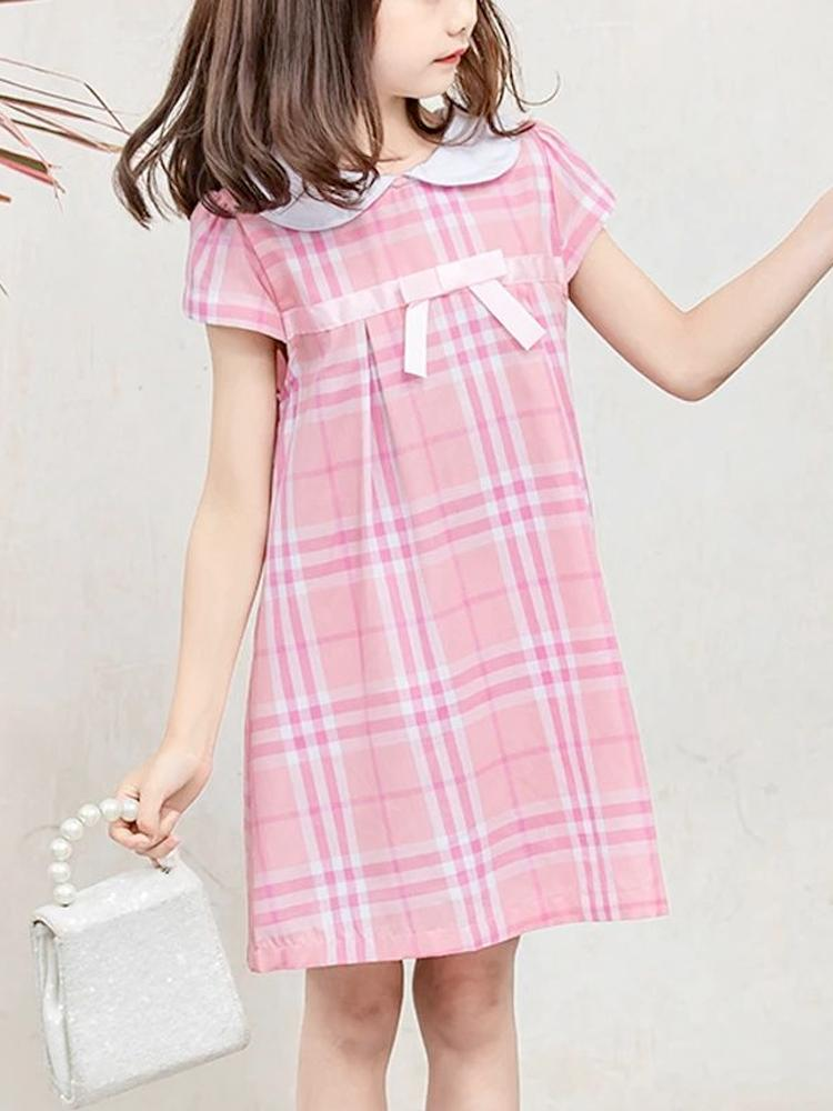 Pink Plaid Girls Peter Pan Collar Dress - Stylemykid.com