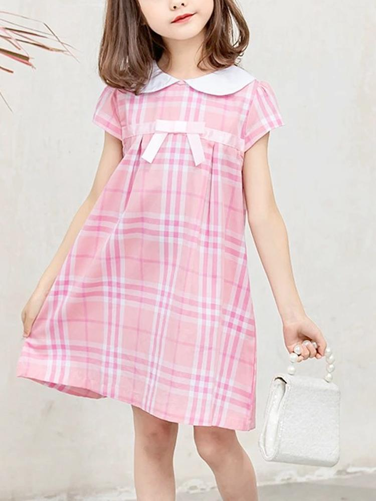Pink Plaid Peter Pan Collar Girls Dress - Stylemykid.com