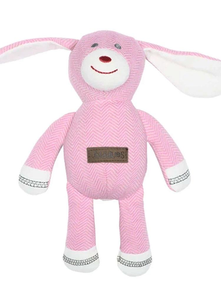 Juddlies - Baby Soft Toy Rattle Comforter - Organic Sunset Pink Rabbit - Cottage Collection - Stylemykid.com