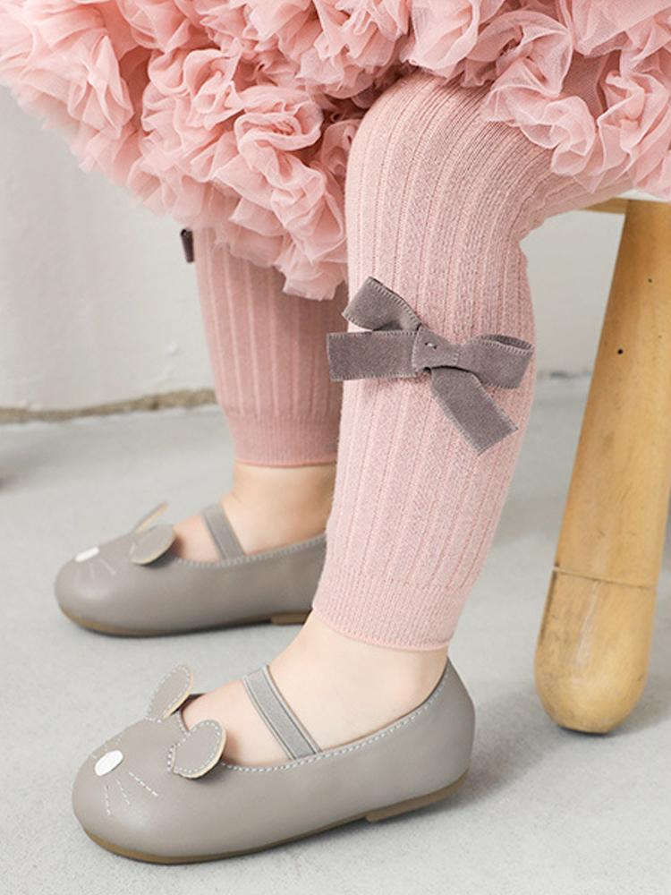 Dusky Pink Ribbon Bow Ribbed Footless Girls Tights/ Leggings - Stylemykid.com