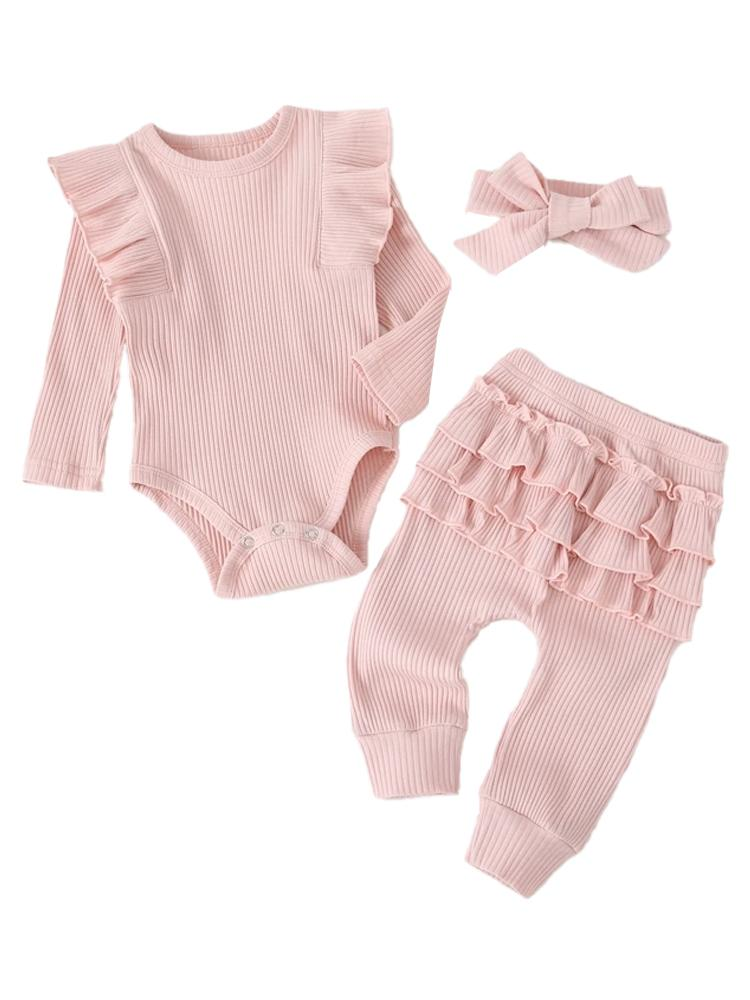 Pastel Pink Baby Girl 3 Piece Ruffle & Ribbed Bobysuit, Leggings & Headband Outfit - Stylemykid.com