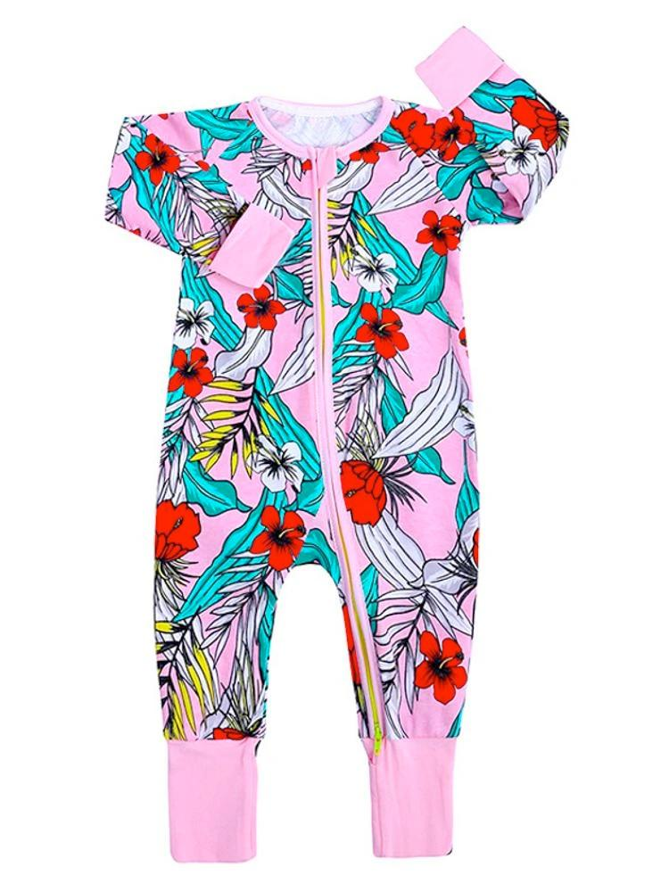 Pink Tulips Baby Zip Sleepsuit with Hand & Feet Cuffs - Stylemykid.com