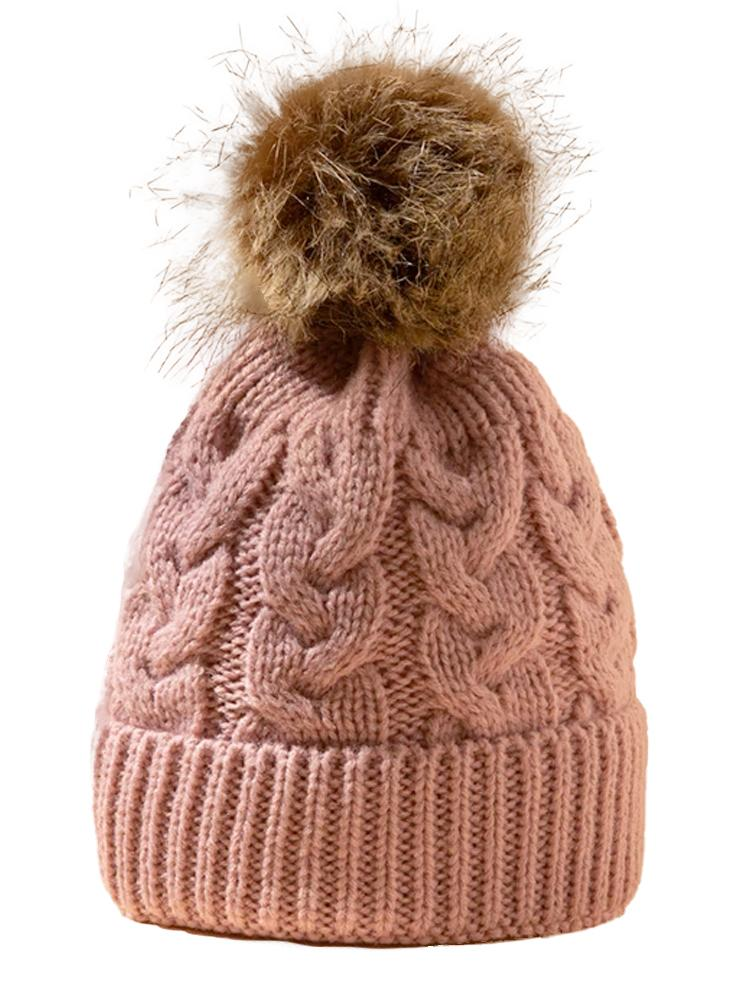 Rose Pink Kids Woollen Bobble Hat 0-3 Years - Stylemykid.com