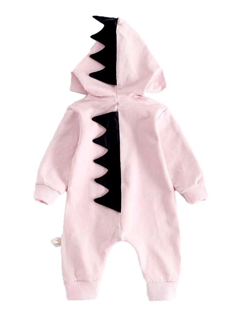 Pale Pink Dinosaur Baby Hooded Onesie With Dark Spikes - Stylemykid.com