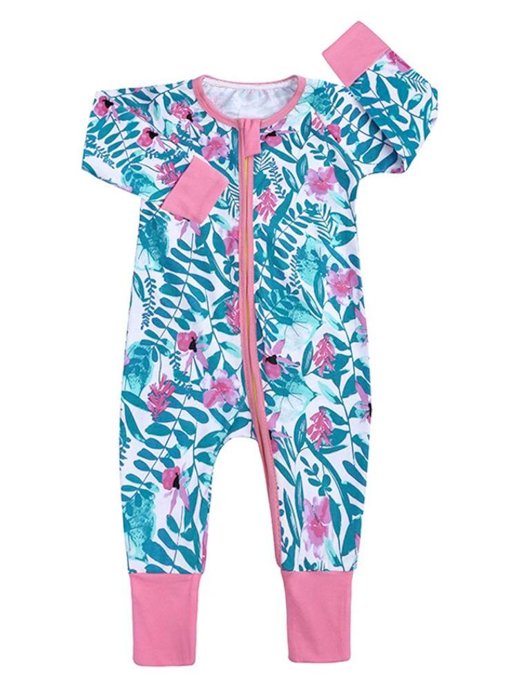 Pink Petals Baby Zip Sleepsuit with Hand & Feet Cuffs - Stylemykid.com