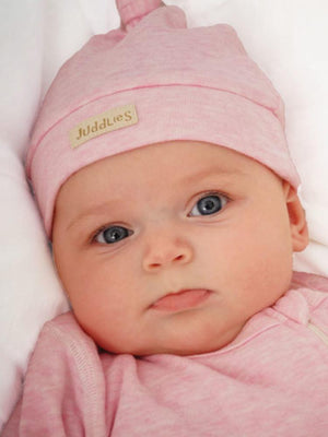 Juddlies - Organic Knotted Hat Newborn Baby -  Fleck/Raglan Collection Pink - Stylemykid.com