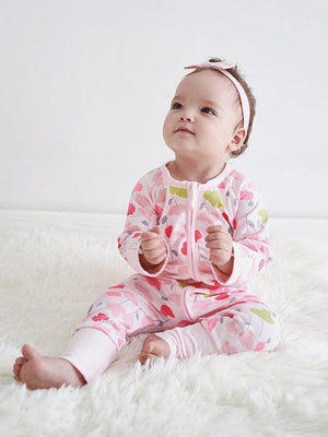 Pink Pansies - Pink Baby Zip Sleepsuit with Hand & Feet Cuffs - Stylemykid.com