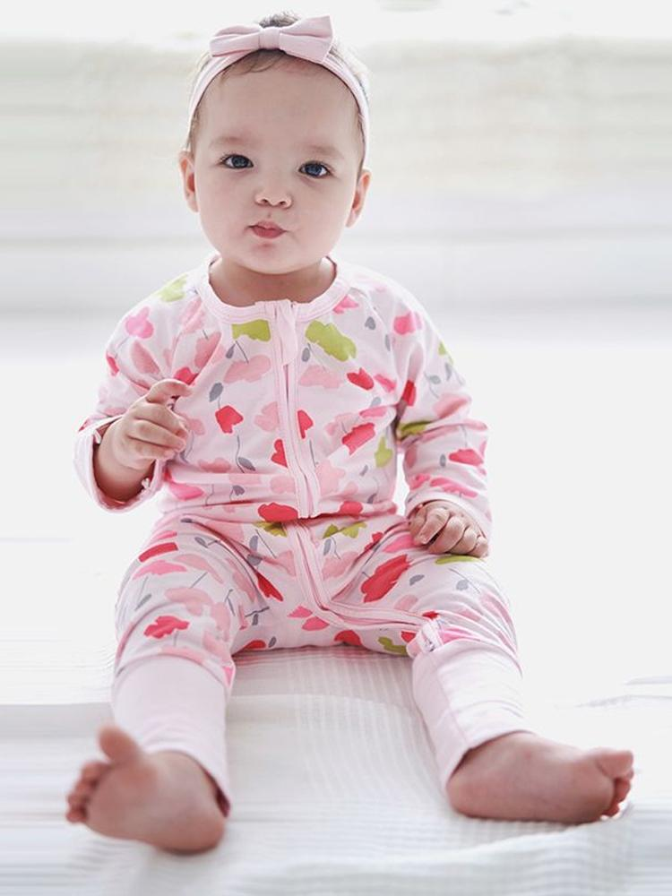 Pink Pansies - Pink Zippy Baby Sleepsuit with Hand & Feet Cuffs