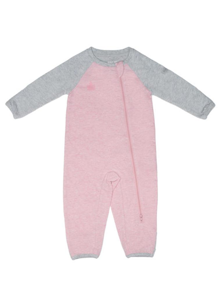 Juddlies - Organic Baby Playsuit Sleepsuit with Double Zip  - Raglan Collection - Dogwood Pink & Grey - Stylemykid.com