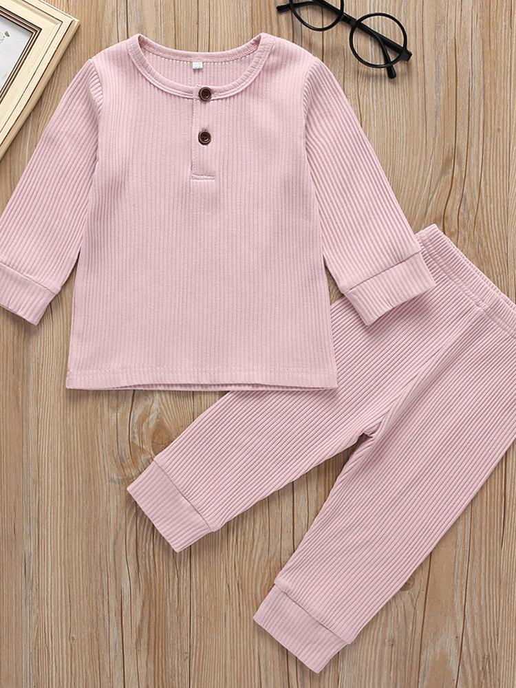 Baby & Toddlers Pink Matching 2 Piece Ribbed Button Top & Bottoms Lounge Outfit - Stylemykid.com
