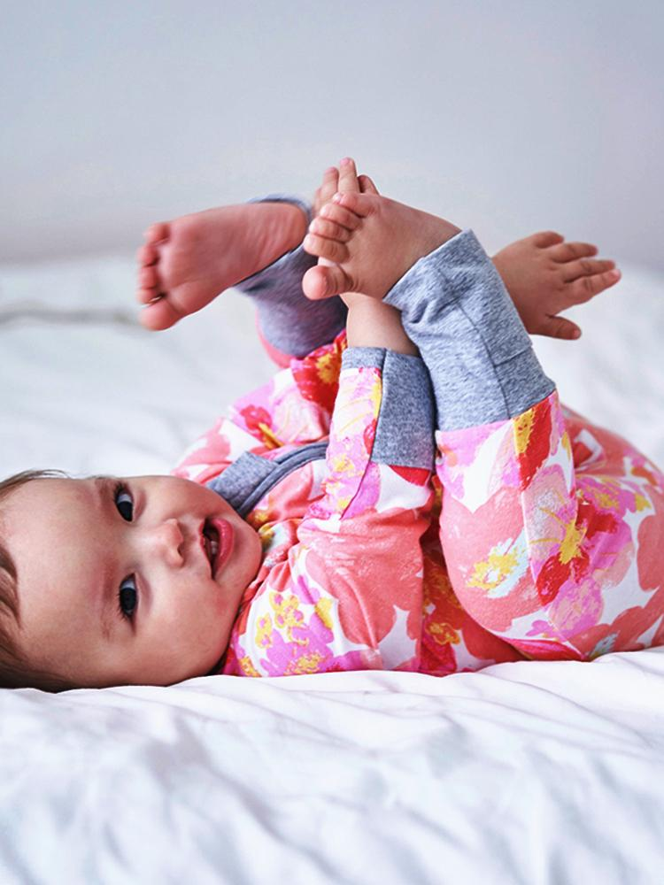 Pink Wild Flowers Baby Zip Sleepsuit with Hand & Feet Cuffs - Stylemykid.com