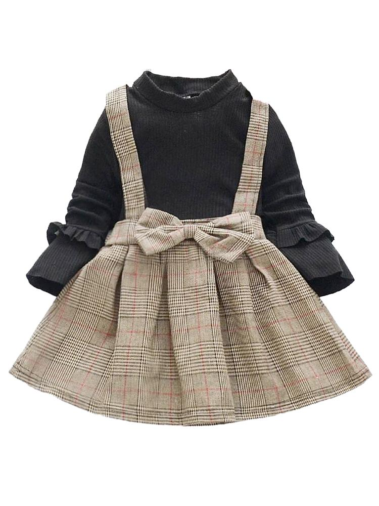 Classic Plaid Colour-Block Dress with Bow and Braces and Black Top - Stylemykid.com