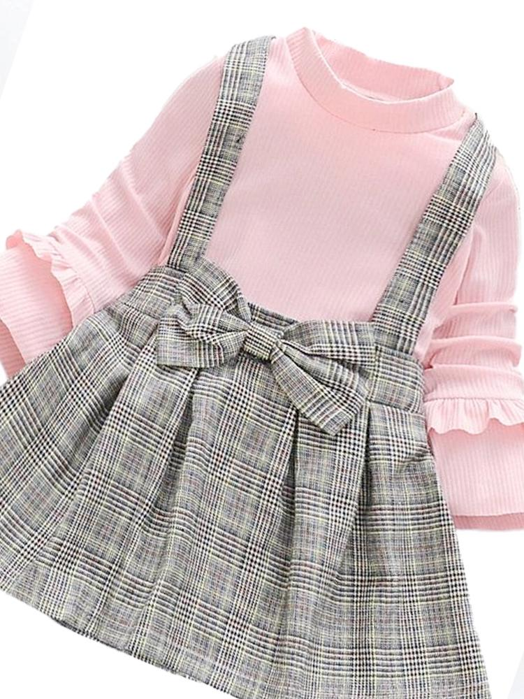 Classic Plaid Colour-Block Dress with Bow and Braces with Pink Top - Stylemykid.com