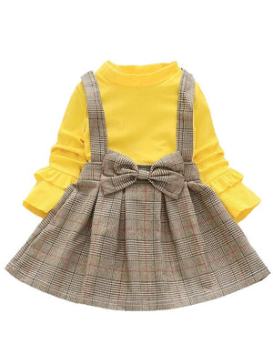 Classic Plaid Colour-Block Dress with Bow and Braces with Yellow Top - Stylemykid.com