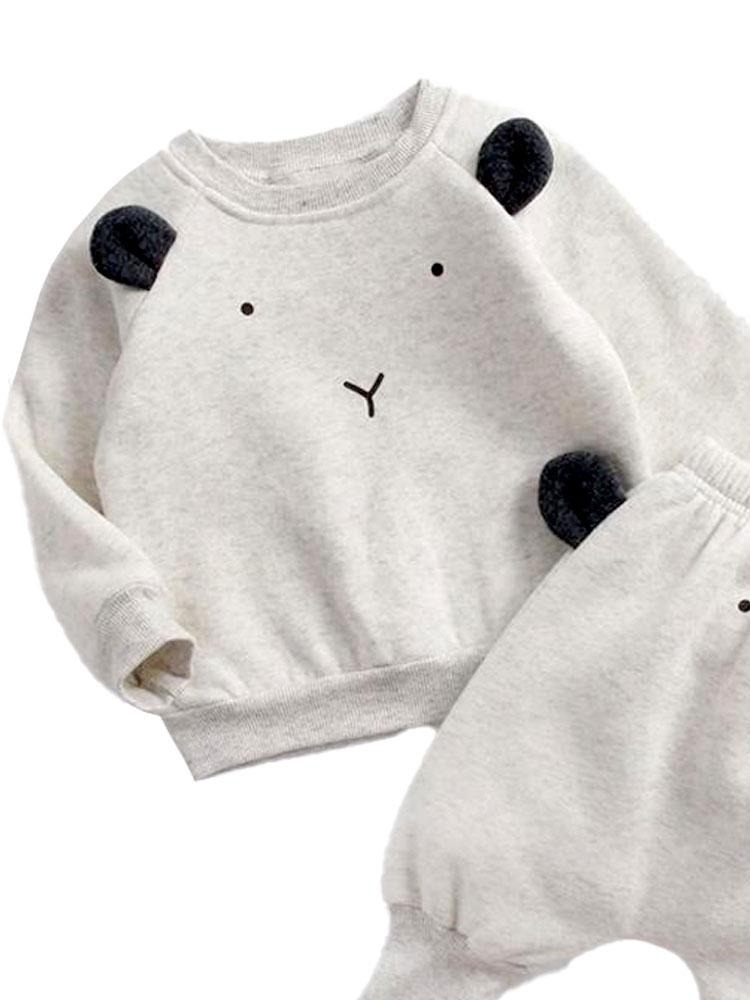 Polar Bear Pop - Baby/Toddler Long Sleeve Top & Bottoms Outfit with Polar Bear Ears - 2 Piece Ice Grey Sweatshirt Set - Stylemykid.com