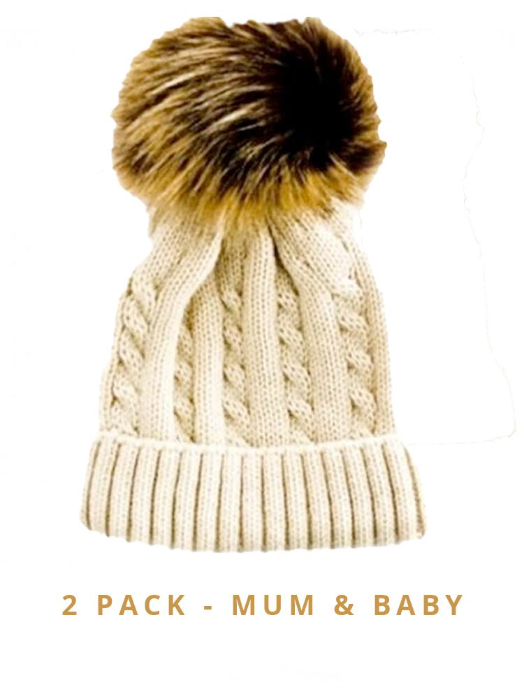 Mummy & Baby Matching Faux Fur Pom Pom Cable Knit Hats - Beige/ Brown Pom 2 Hat Pack - Stylemykid.com