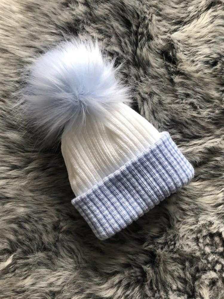 Newborn Blue & White Faux Fur Pom Pom Baby Hat - 0-3 Months