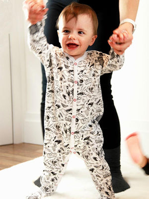 Artie - Pop Comic Black & White Patterned Baby Sleepsuit - Stylemykid.com