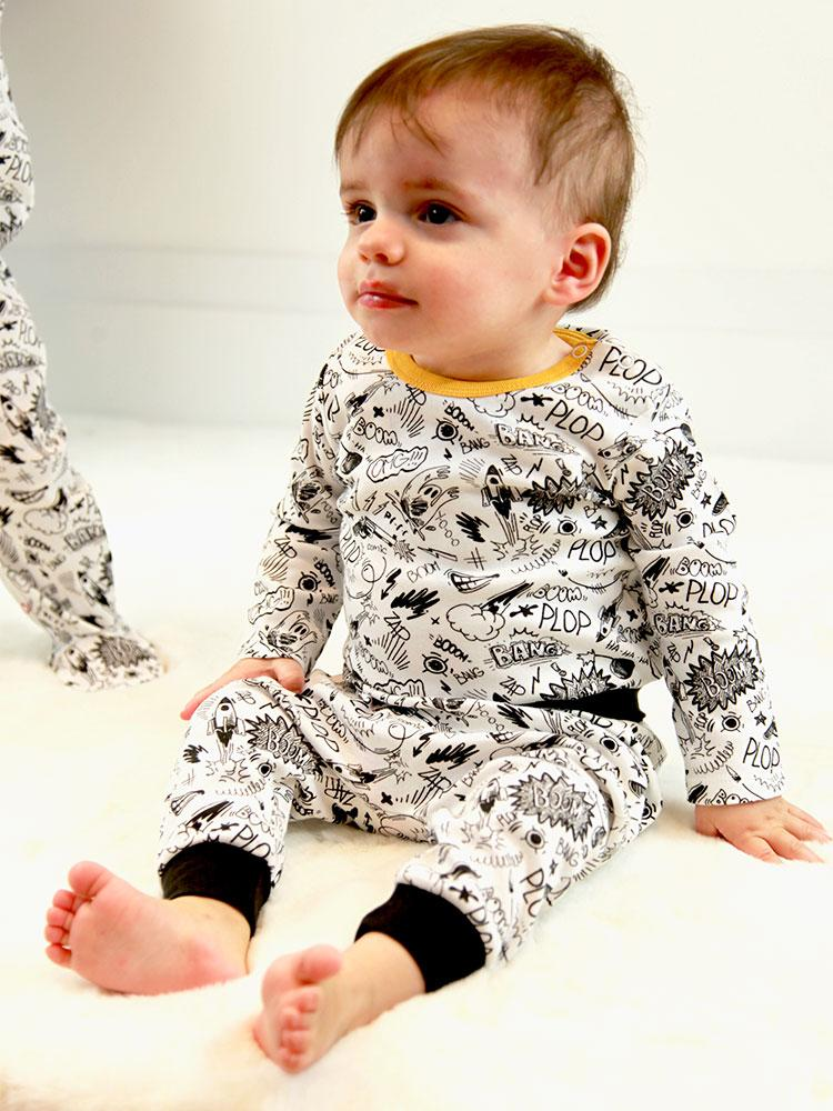 Artie - Pop Comic Black and White Bottoms (6-9 months) - Stylemykid.com