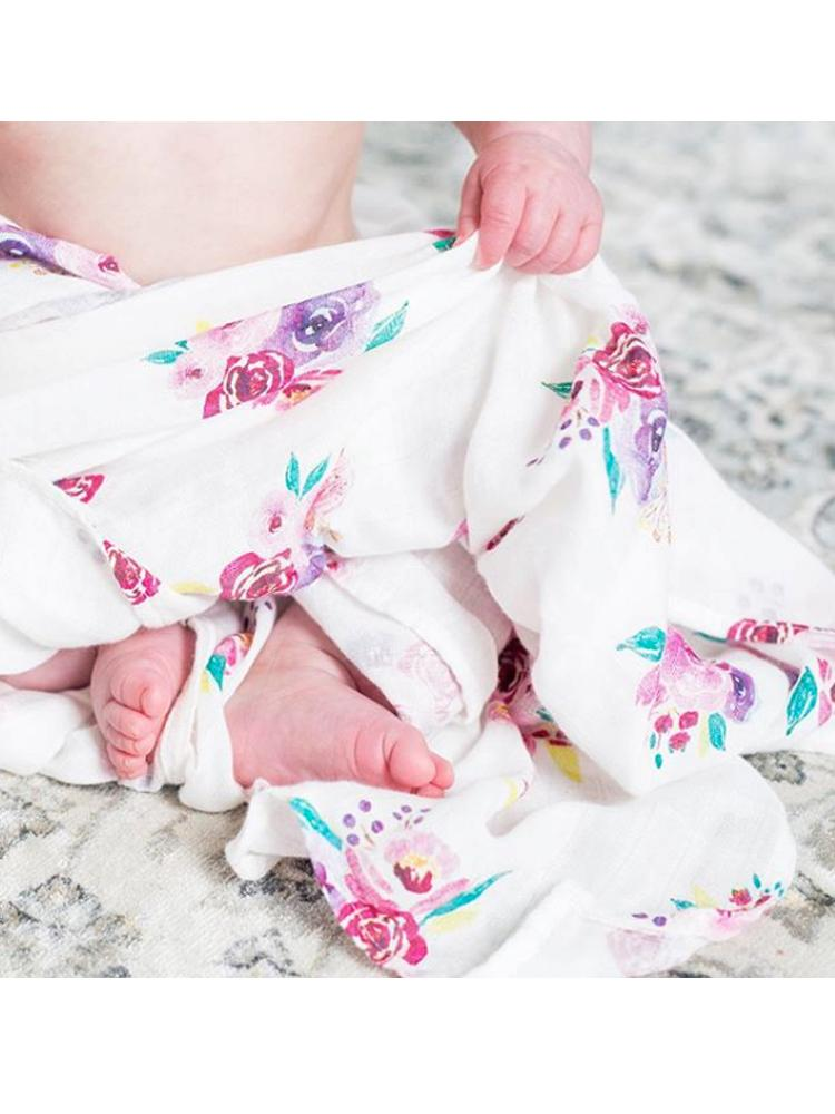Lulujo - Bamboo Hat and Swaddle Blanket - Posies - Stylemykid.com