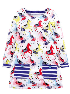 Prancing Ponies - Girls Long Sleeve Colourful Pony & White Dress with Striped Pockets - Stylemykid.com