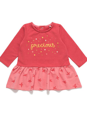 Artie - Precious Girls French Terry Blush Red Long Sleeved Dress - Stylemykid.com