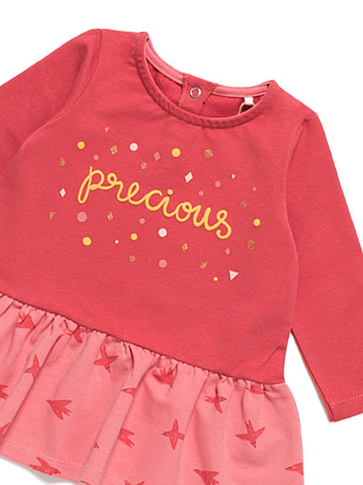 Artie - Girls Red Long Sleeved Dress with Precious Design - Stylemykid.com
