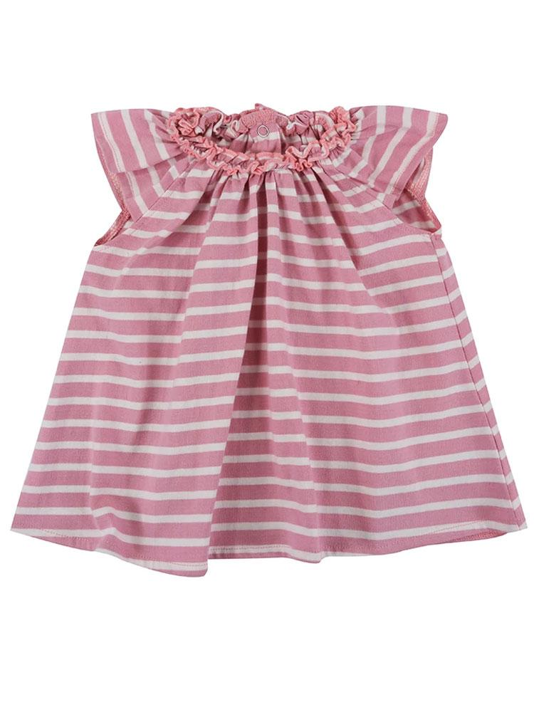 Lilly & Sid Organic Pretty Pink Gathered Stripe Dress - Stylemykid.com