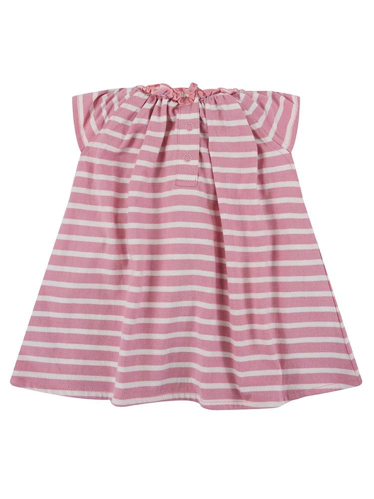Lilly & Sid Organic Pretty Gathered Pink & White Striped Baby Girl Dress - Stylemykid.com
